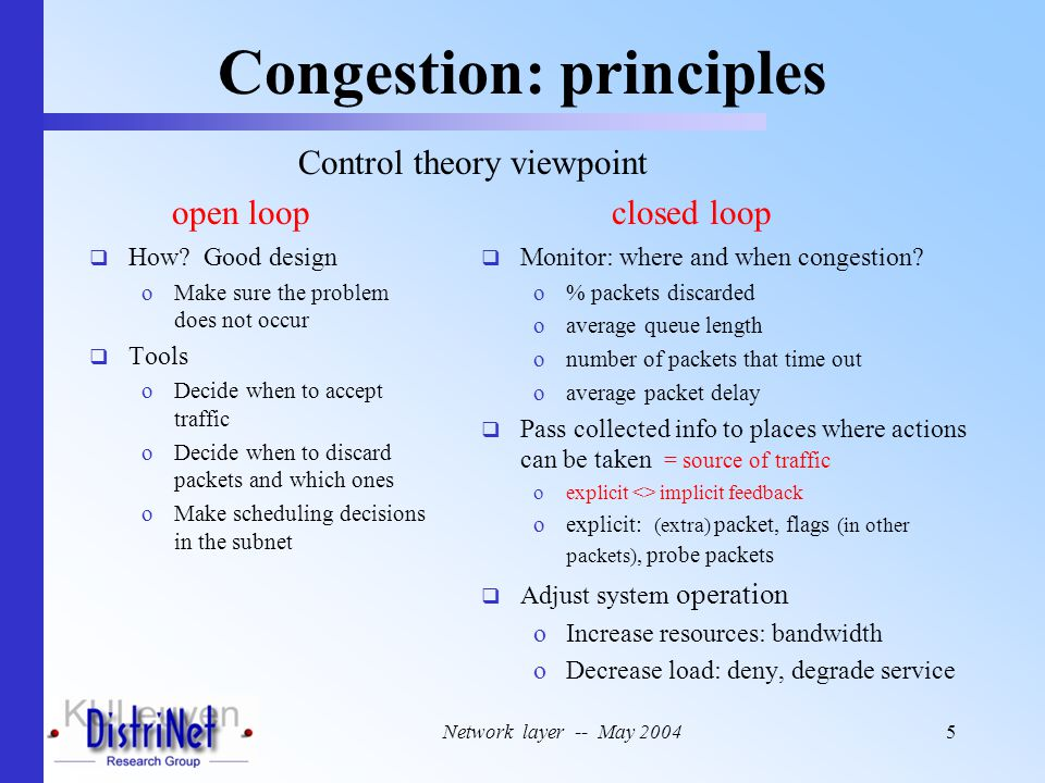 Network layer -- May 20045 Congestion: principles  How.