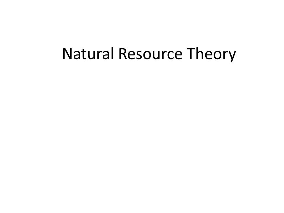 Natural Resource Theory Copyright, 1998 by Peter Berck