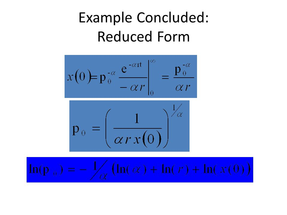 Example Concluded: Reduced Form
