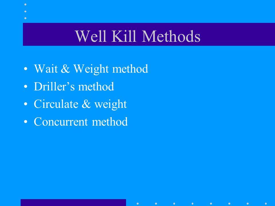 Well Kill Methods Wait & Weight method Driller's method Circulate & weight Concurrent method
