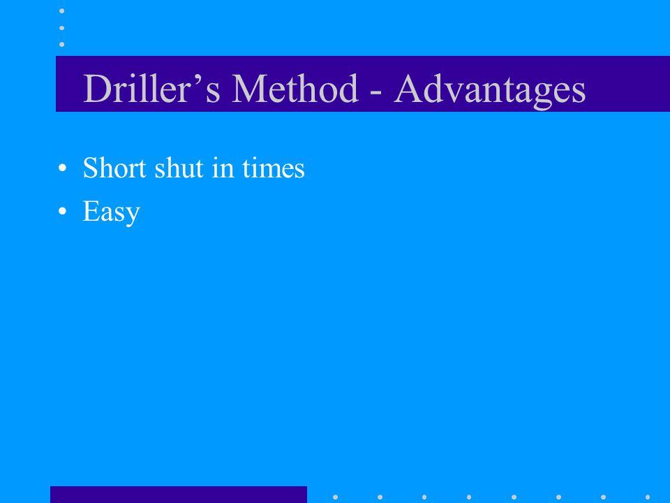 Driller's Method - Advantages Short shut in times Easy