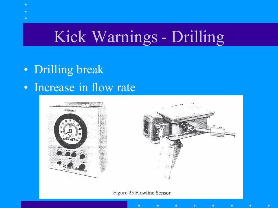 Kick Warnings - Drilling Drilling break Increase in flow rate