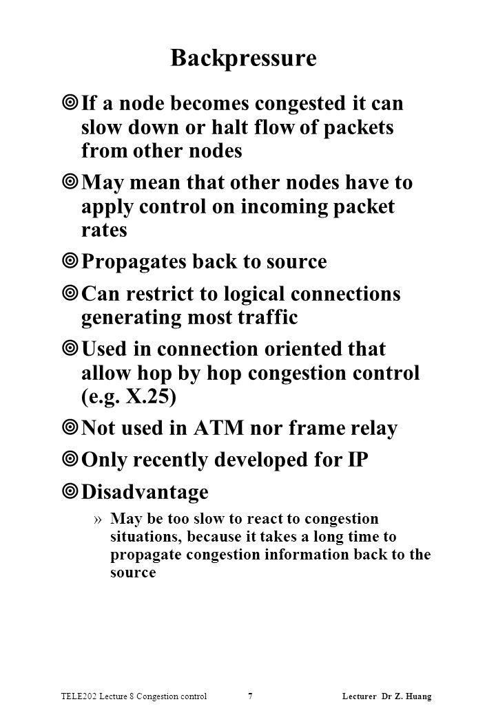 TELE202 Lecture 8 Congestion control 7 Lecturer Dr Z.