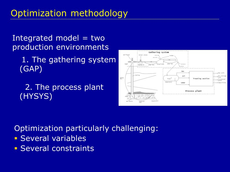 Integrated model = two production environments 1. The gathering system (GAP) 2.