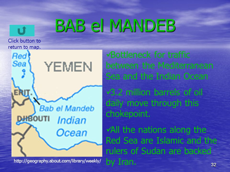 32 BAB el MANDEB Bottleneck for traffic between the Mediterranean Sea and the Indian Ocean 3.2 million barrels of oil daily move through this chokepoi