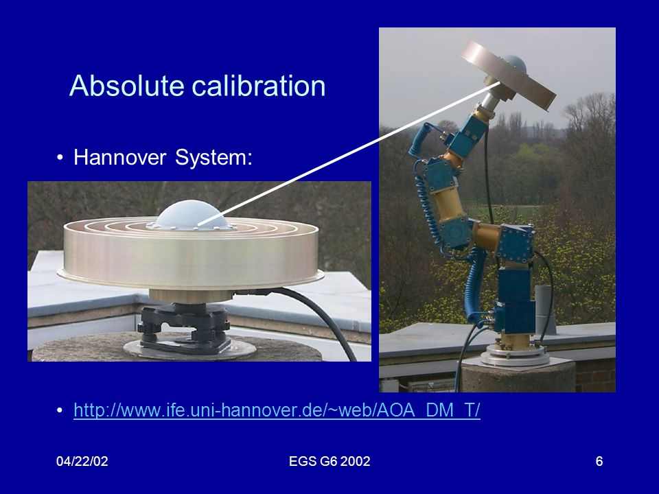 04/22/02EGS G6 20026 Absolute calibration Hannover System: http://www.ife.uni-hannover.de/~web/AOA_DM_T/