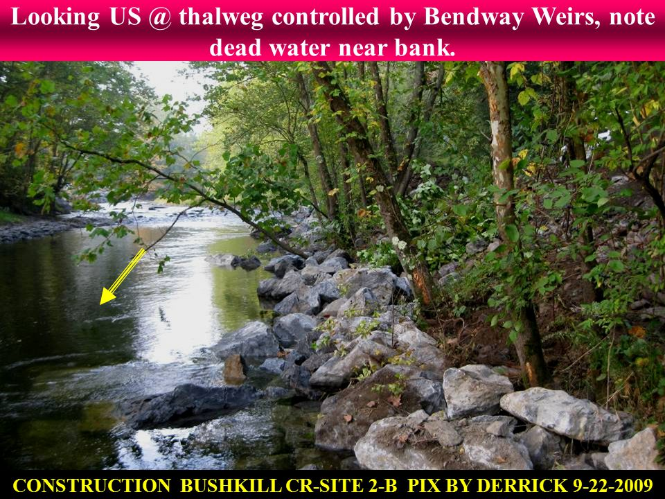 Looking US @ thalweg controlled by Bendway Weirs, note dead water near bank. CONSTRUCTION BUSHKILL CR-SITE 2-B PIX BY DERRICK 9-22-2009