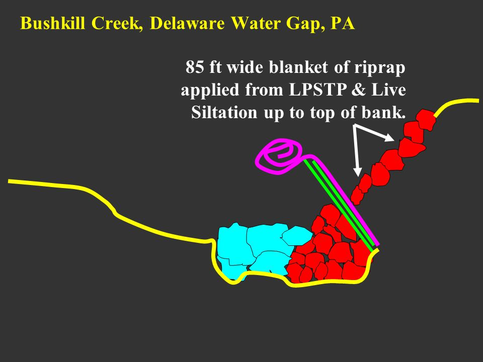 85 ft wide blanket of riprap applied from LPSTP & Live Siltation up to top of bank. Bushkill Creek, Delaware Water Gap, PA