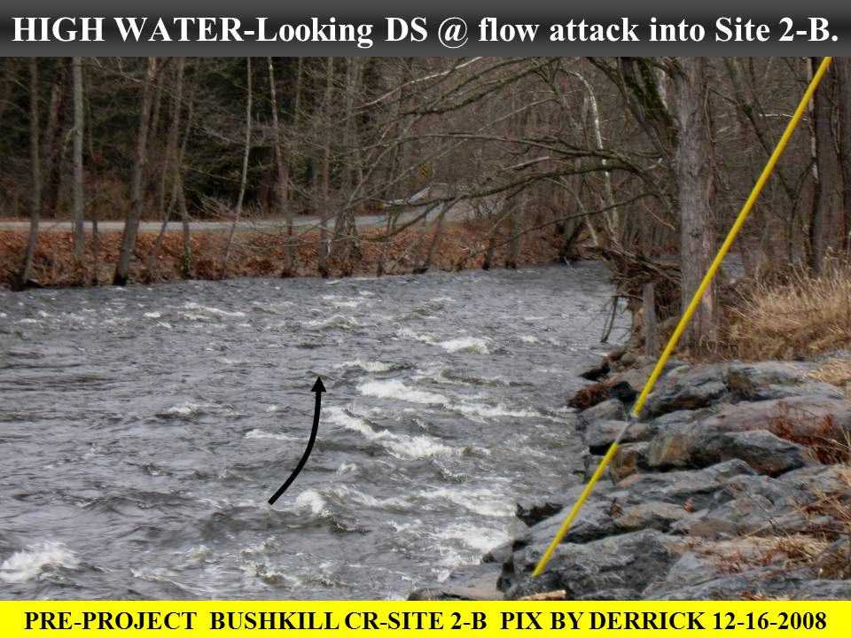 HIGH WATER-Looking DS @ flow attack into Site 2-B. PRE-PROJECT BUSHKILL CR-SITE 2-B PIX BY DERRICK 12-16-2008