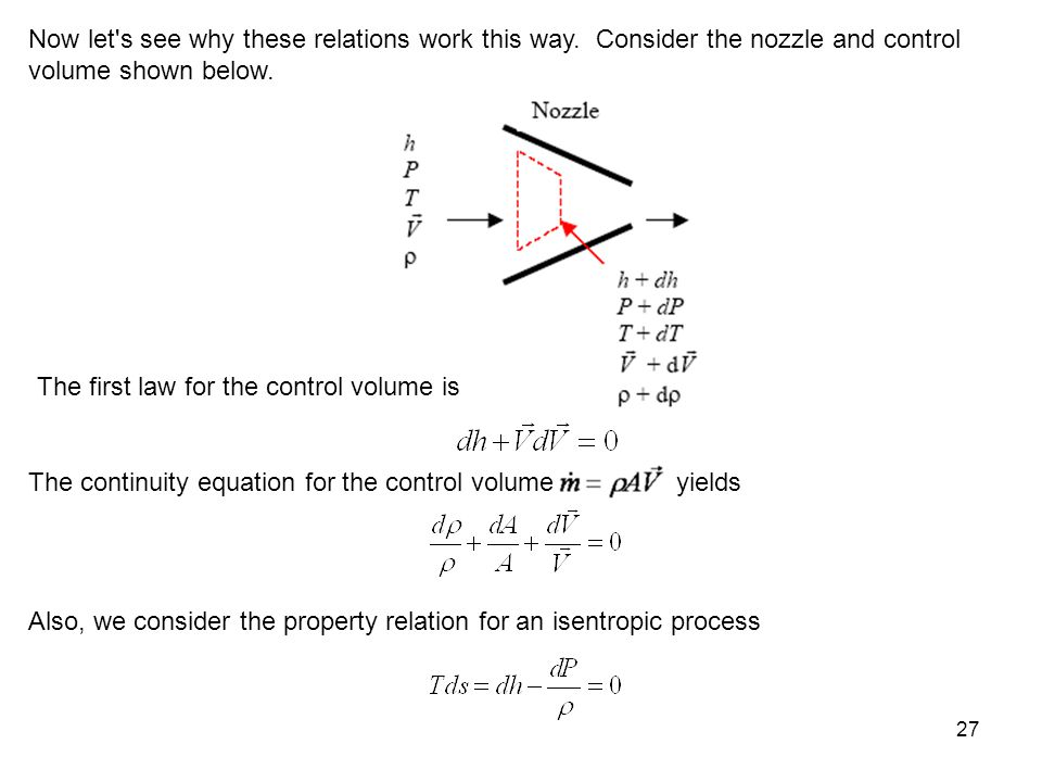 27 Now let's see why these relations work this way. Consider the nozzle and control volume shown below. The first law for the control volume is The co
