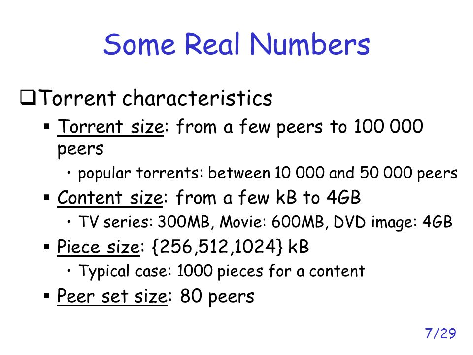 8/29 Why Studying BitTorrent Peer and Piece Selection.