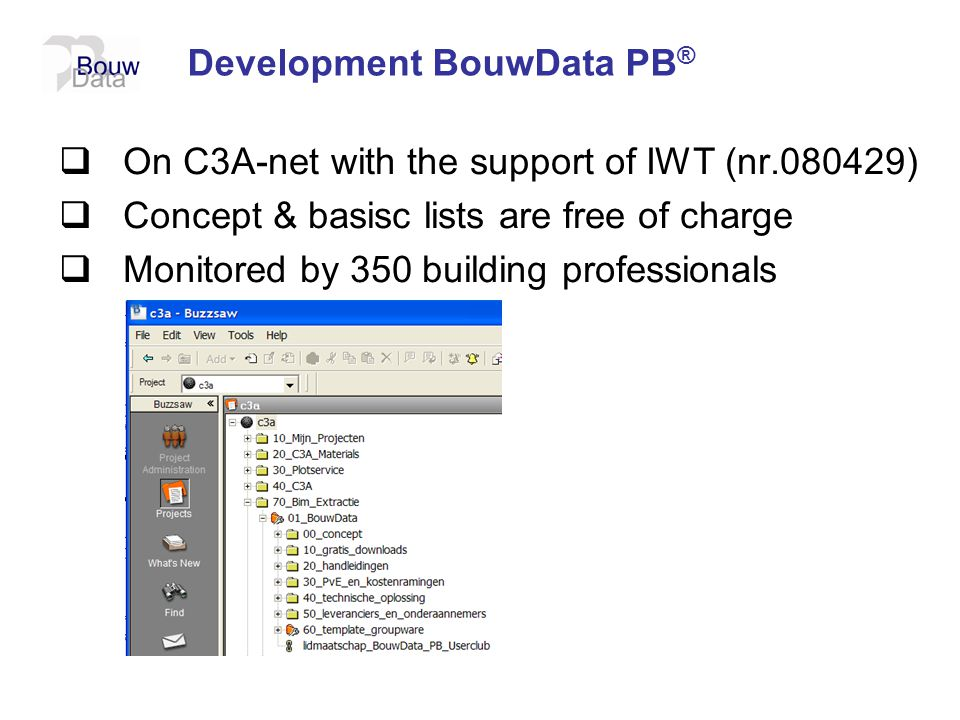 Development BouwData PB ®  On C3A-net with the support of IWT (nr.080429)  Concept & basisc lists are free of charge  Monitored by 350 building pro