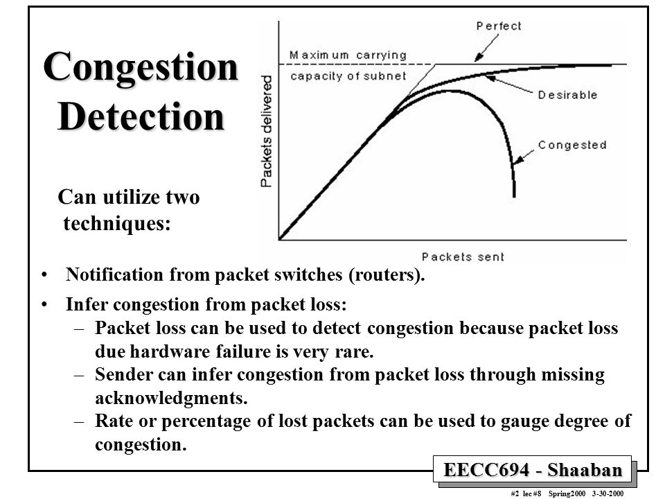 EECC694 - Shaaban #2 lec #8 Spring2000 3-30-2000 Congestion Detection Can utilize two techniques: Notification from packet switches (routers). Infer c