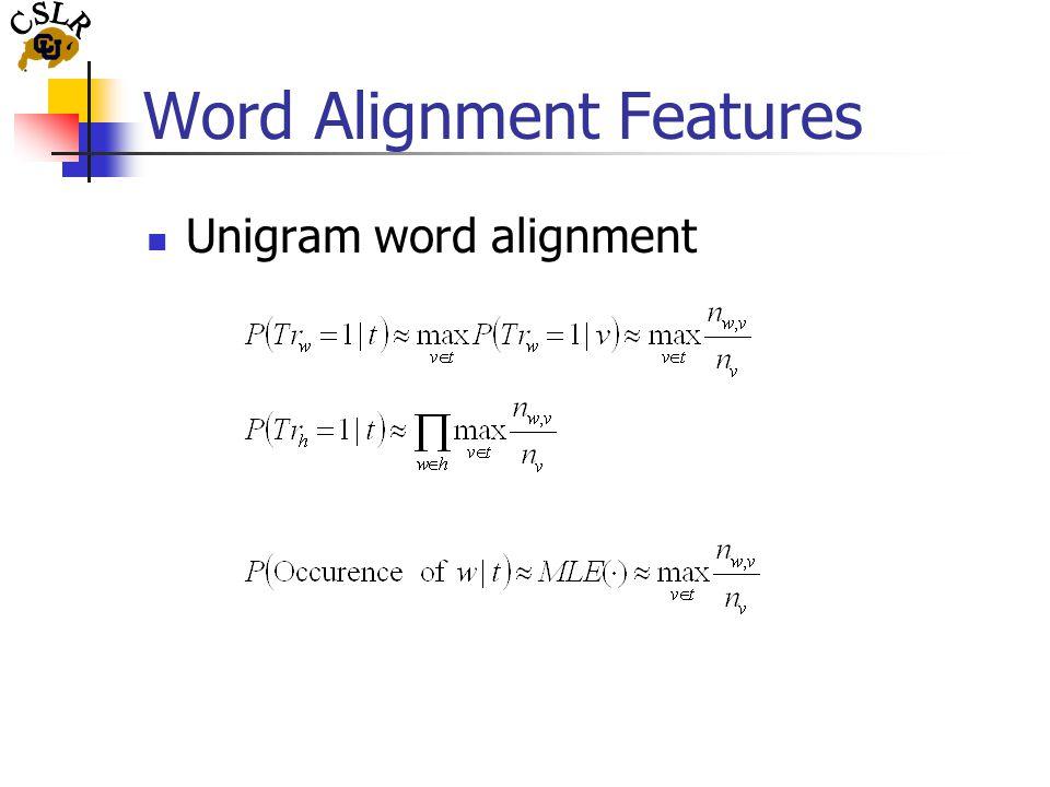 Word Alignment Features Unigram word alignment