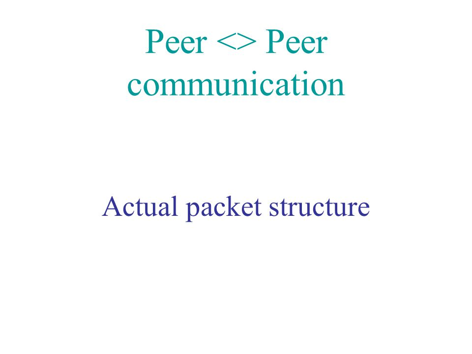 Peer <> Peer communication Actual packet structure