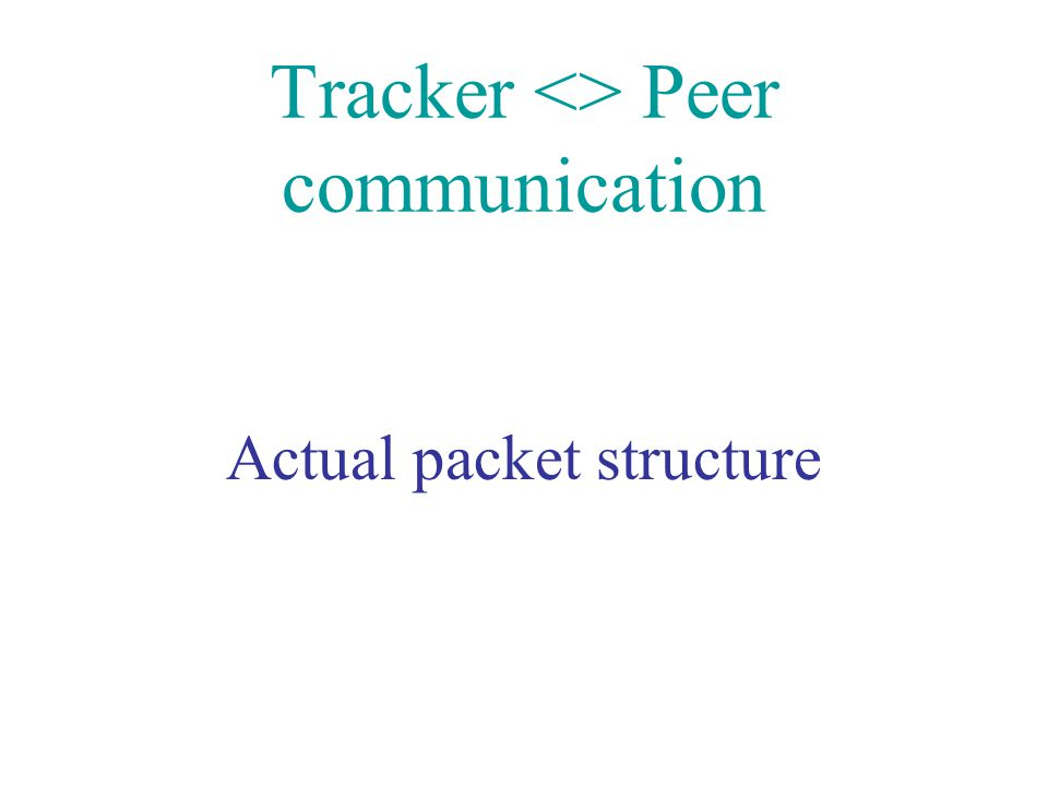 Tracker <> Peer communication Actual packet structure