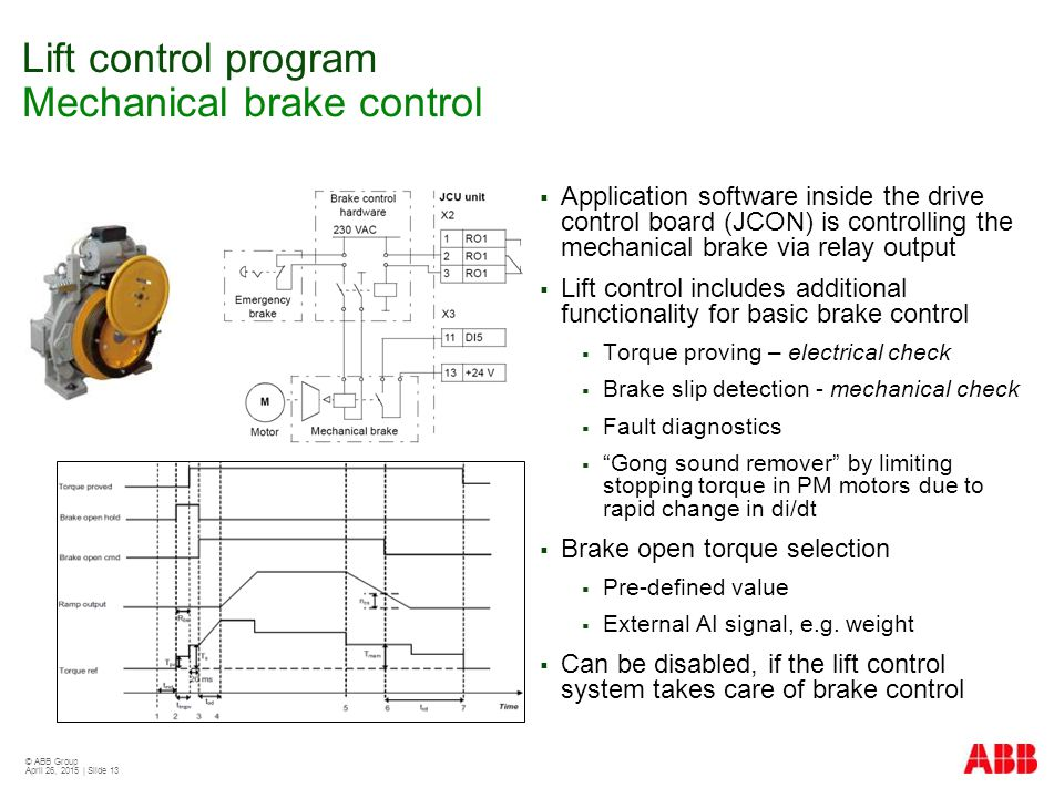 © ABB Group April 26, 2015   Slide 13 Lift control program Mechanical brake control  Application software inside the drive control board (JCON) is controlling the mechanical brake via relay output  Lift control includes additional functionality for basic brake control  Torque proving – electrical check  Brake slip detection - mechanical check  Fault diagnostics  Gong sound remover by limiting stopping torque in PM motors due to rapid change in di/dt  Brake open torque selection  Pre-defined value  External AI signal, e.g.
