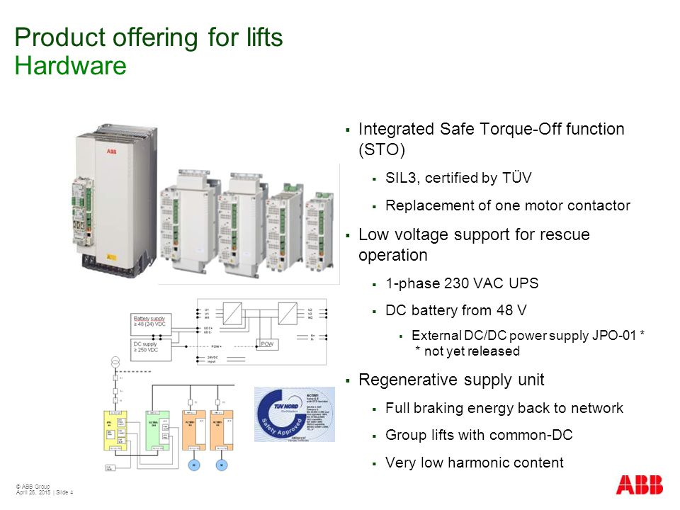 © ABB Group April 26, 2015 | Slide 4 Product offering for lifts Hardware  Integrated Safe Torque-Off function (STO)  SIL3, certified by TÜV  Replac