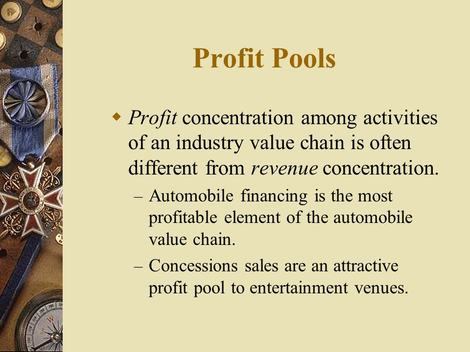 Profit Pools  Profit concentration among activities of an industry value chain is often different from revenue concentration. – Automobile financing