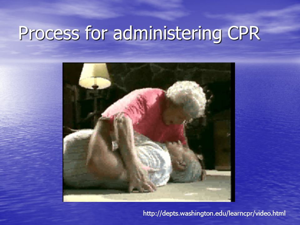 Process for administering CPR http://depts.washington.edu/learncpr/video.html