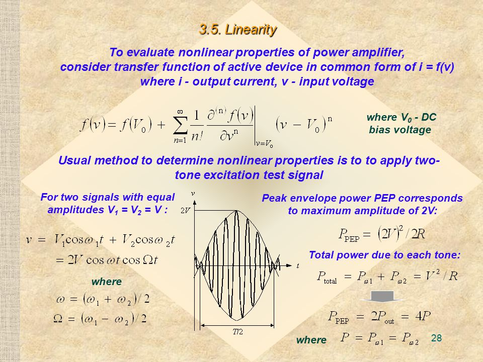 28 To evaluate nonlinear properties of power amplifier, consider transfer function of active device in common form of i = f(v) where i - output current, v - input voltage 3.5.