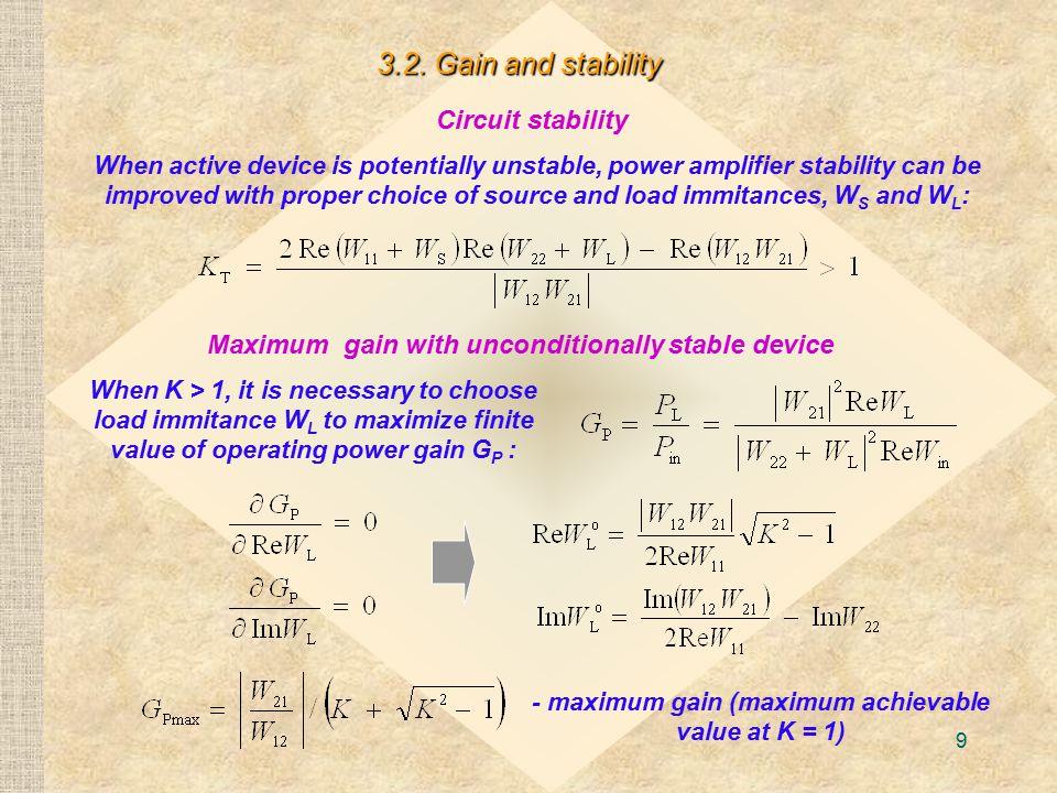 9 - maximum gain (maximum achievable value at K = 1) 3.2.
