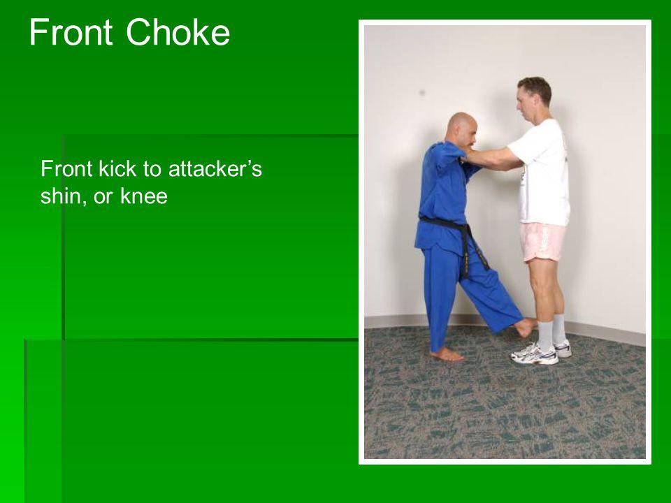 Step forward to pull attacker off balance Rear Choke