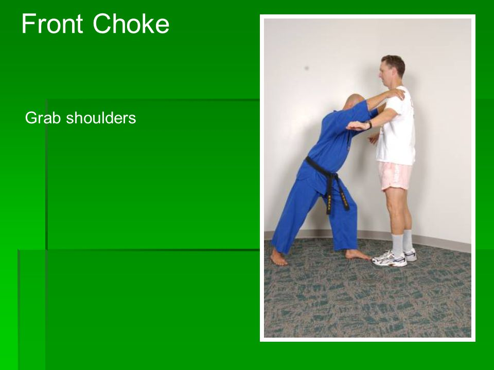 Front Choke Knee strike to the floating rib area