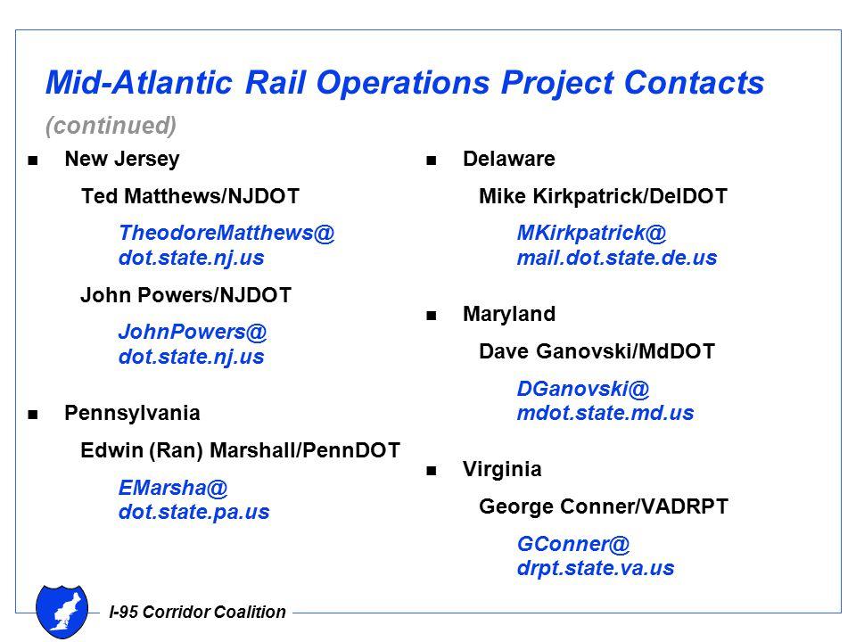 I-95 Corridor Coalition Mid-Atlantic Rail Operations Project Contacts (continued) n New Jersey Ted Matthews/NJDOT TheodoreMatthews@ dot.state.nj.us John Powers/NJDOT JohnPowers@ dot.state.nj.us n Pennsylvania Edwin (Ran) Marshall/PennDOT EMarsha@ dot.state.pa.us n Delaware Mike Kirkpatrick/DelDOT MKirkpatrick@ mail.dot.state.de.us n Maryland Dave Ganovski/MdDOT DGanovski@ mdot.state.md.us n Virginia George Conner/VADRPT GConner@ drpt.state.va.us