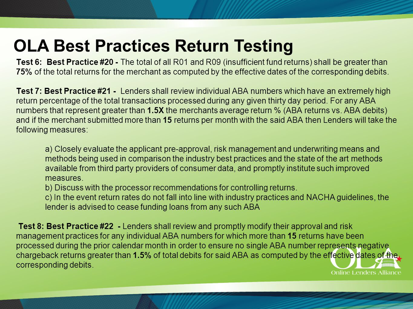 Test 6: Best Practice #20 - The total of all R01 and R09 (insufficient fund returns) shall be greater than 75% of the total returns for the merchant as computed by the effective dates of the corresponding debits.