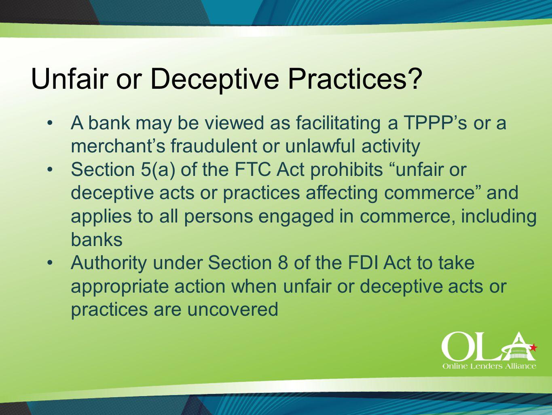 Unfair or Deceptive Practices.