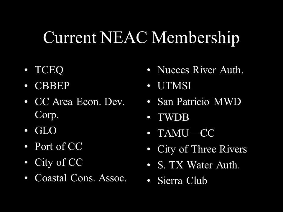 Current NEAC Membership TCEQ CBBEP CC Area Econ. Dev.