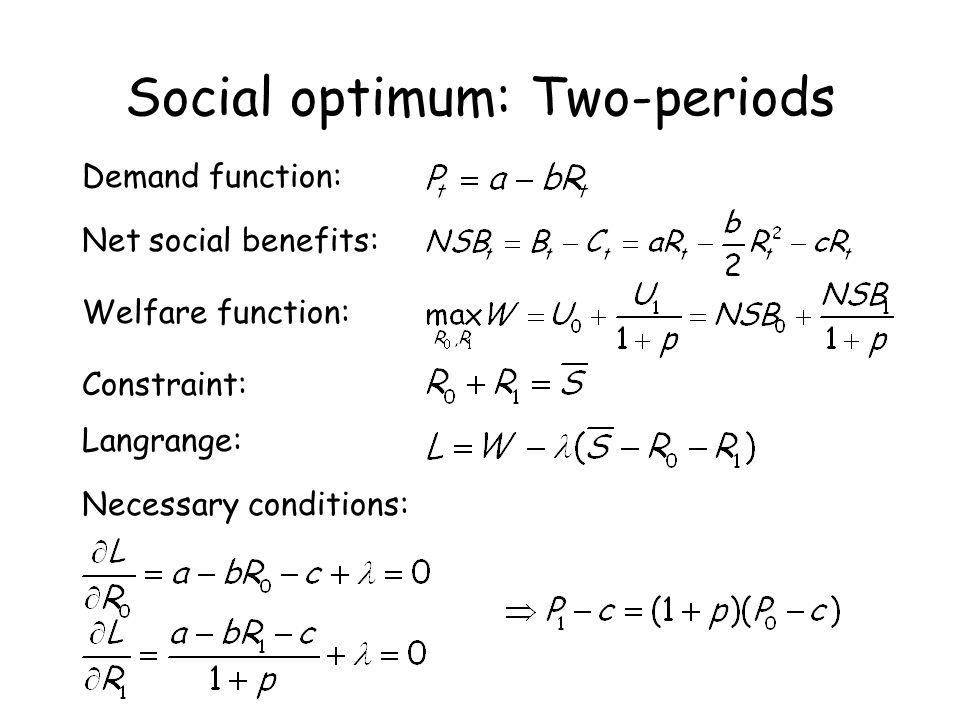 Social optimum: Two-periods Demand function: Welfare function: Constraint: Langrange: Necessary conditions: Net social benefits: