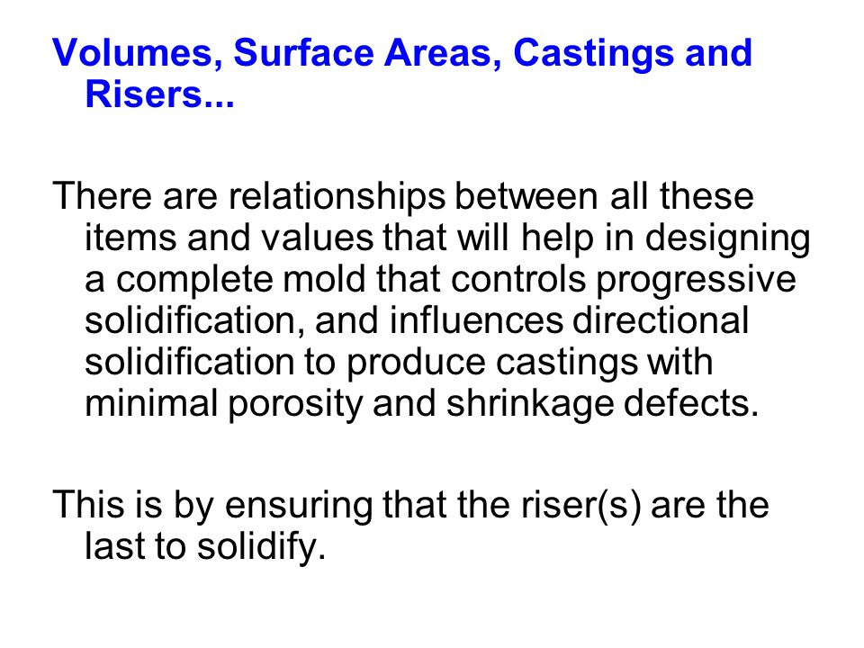 Volumes, Surface Areas, Castings and Risers...