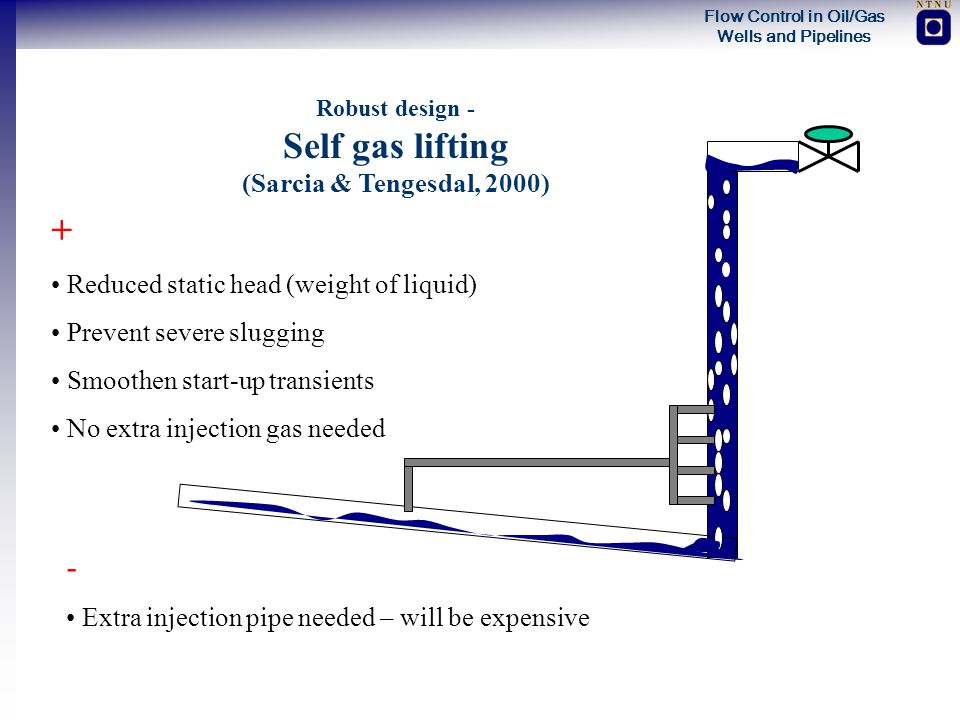 Flow Control in Oil/Gas Wells and Pipelines Robust design - Self gas lifting (Sarcia & Tengesdal, 2000) + Reduced static head (weight of liquid) Preve