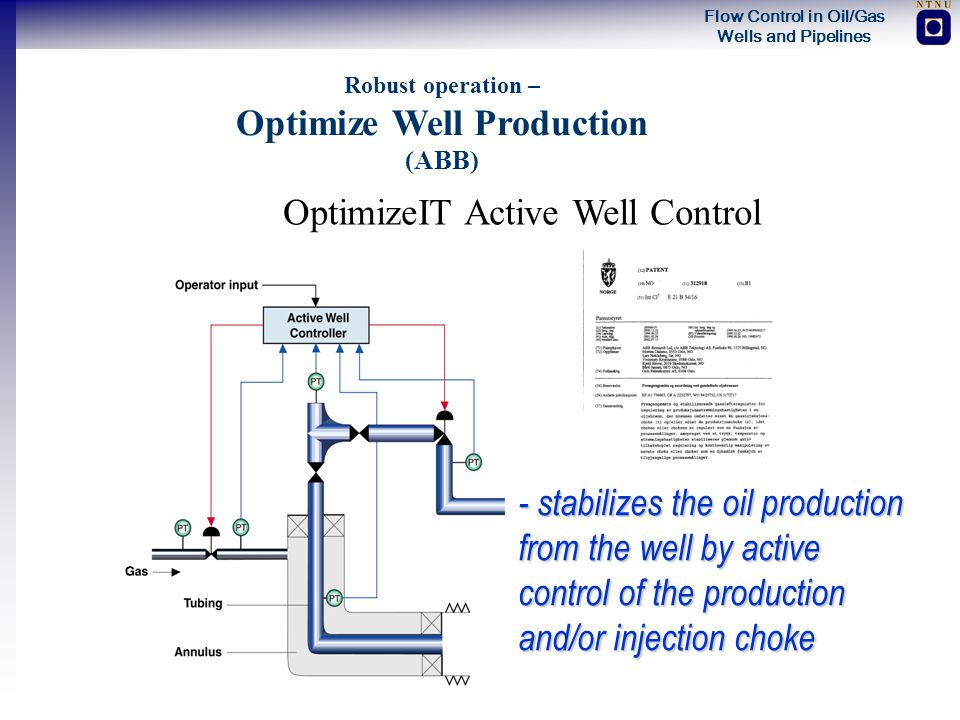 Flow Control in Oil/Gas Wells and Pipelines Robust operation – Optimize Well Production (ABB) OptimizeIT Active Well Control - stabilizes the oil prod