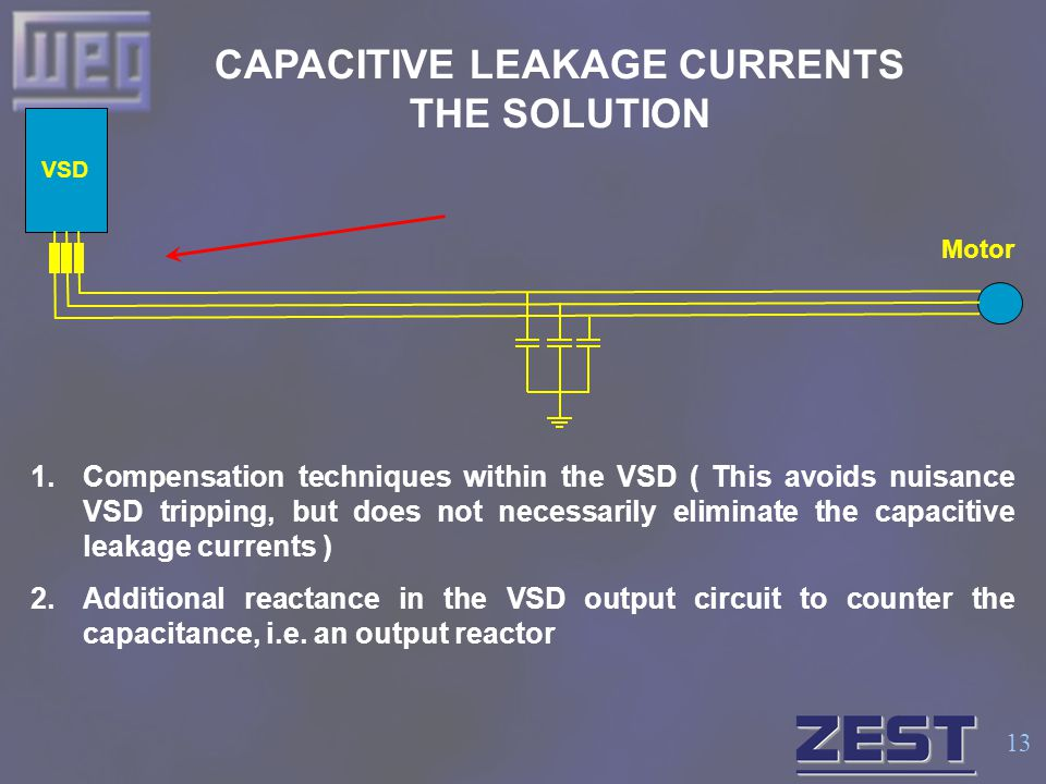 13 CAPACITIVE LEAKAGE CURRENTS THE SOLUTION VSD Motor 1.Compensation techniques within the VSD ( This avoids nuisance VSD tripping, but does not neces