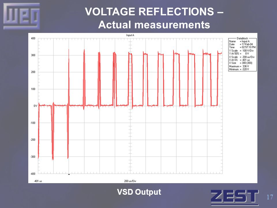 17 VOLTAGE REFLECTIONS – Actual measurements VSD Output