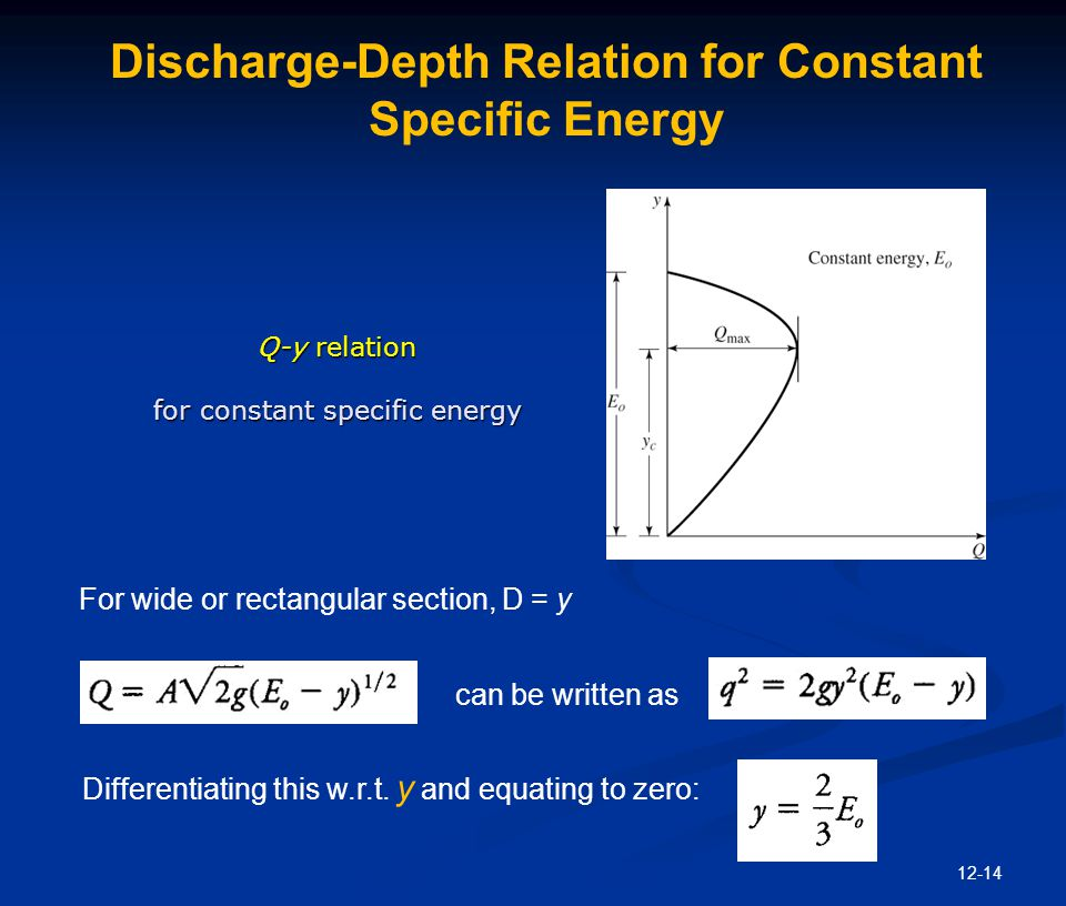 12-14 Discharge-Depth Relation for Constant Specific Energy can be written as Differentiating this w.r.t. y and equating to zero: For wide or rectangu