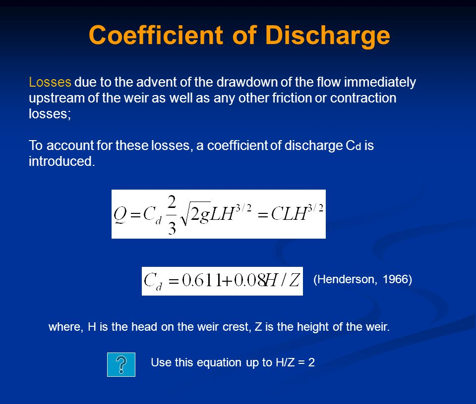 Coefficient of Discharge Losses due to the advent of the drawdown of the flow immediately upstream of the weir as well as any other friction or contra