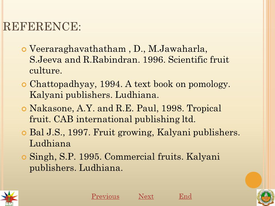 REFERENCE: Veeraraghavathatham, D., M.Jawaharla, S.Jeeva and R.Rabindran.
