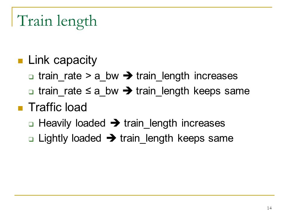 14 Train length Link capacity  train_rate > a_bw  train_length increases  train_rate ≤ a_bw  train_length keeps same Traffic load  Heavily loaded