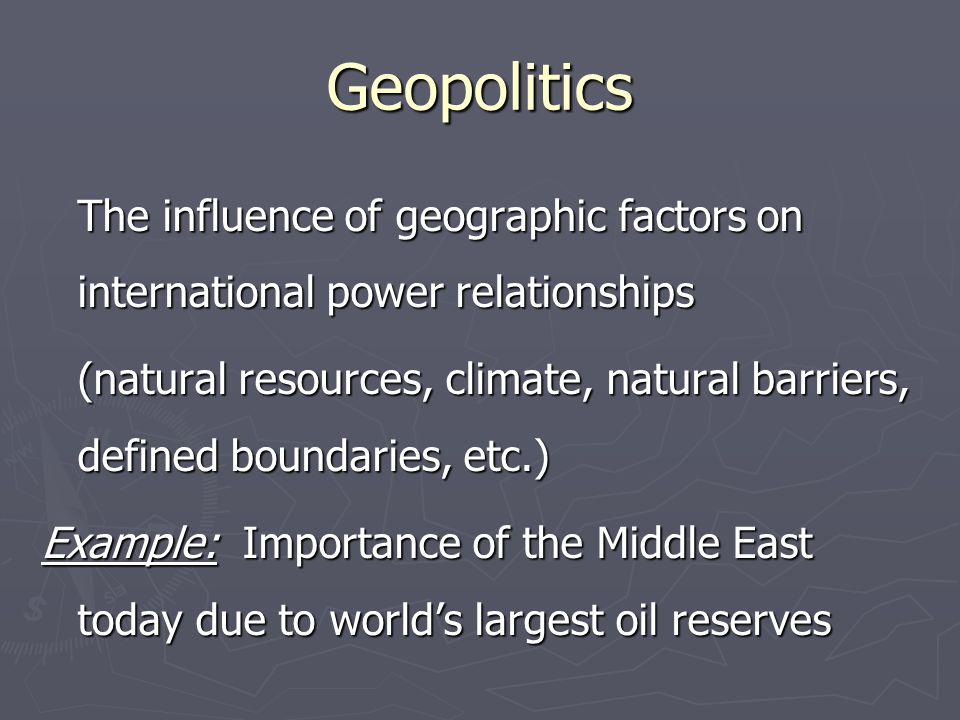 Natural Resources Valued elements of the environment; includes minerals, fresh water, arable soil, vegetation, natural harbors, etc.