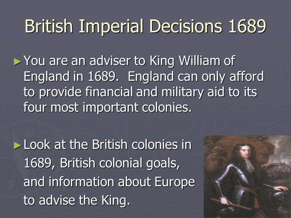 Key British Colonies 1689