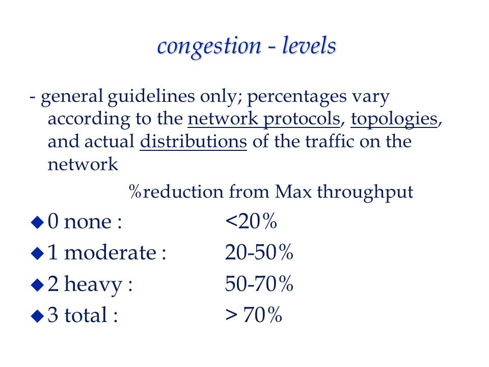 congestion - levels - general guidelines only; percentages vary according to the network protocols, topologies, and actual distributions of the traffic on the network %reduction from Max throughput  0 none : <20%  1 moderate : 20-50%  2 heavy : 50-70%  3 total : > 70%
