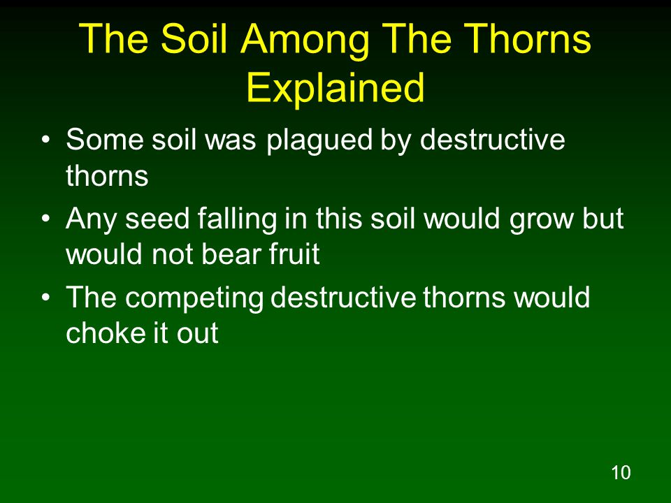 10 The Soil Among The Thorns Explained Some soil was plagued by destructive thorns Any seed falling in this soil would grow but would not bear fruit T