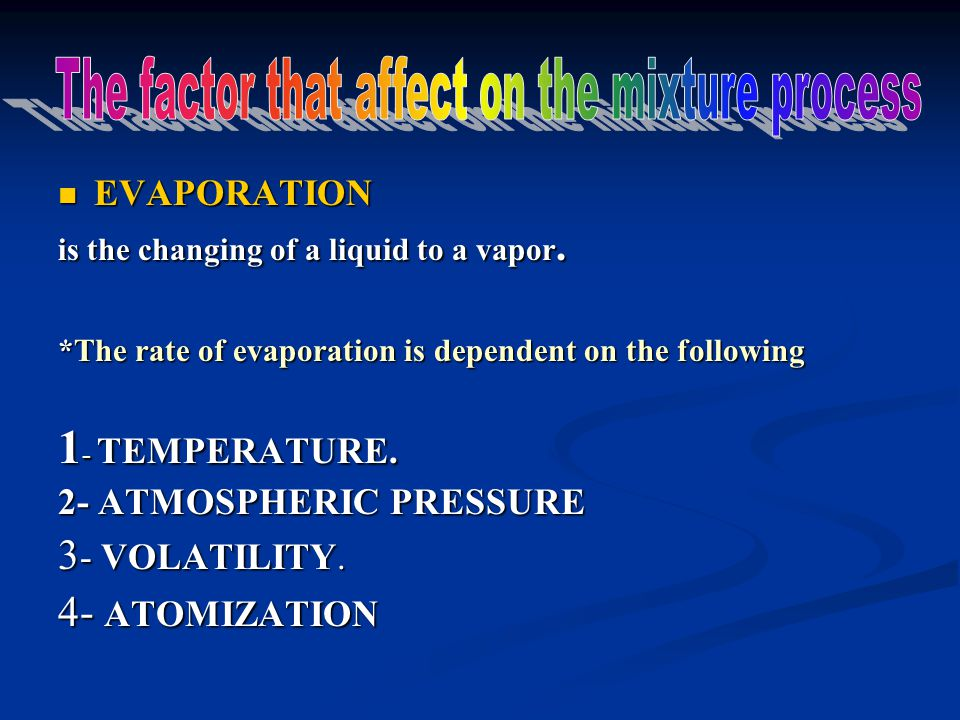 EVAPORATION EVAPORATION is the changing of a liquid to a vapor. *The rate of evaporation is dependent on the following 1 - TEMPERATURE. 2- ATMOSPHERIC