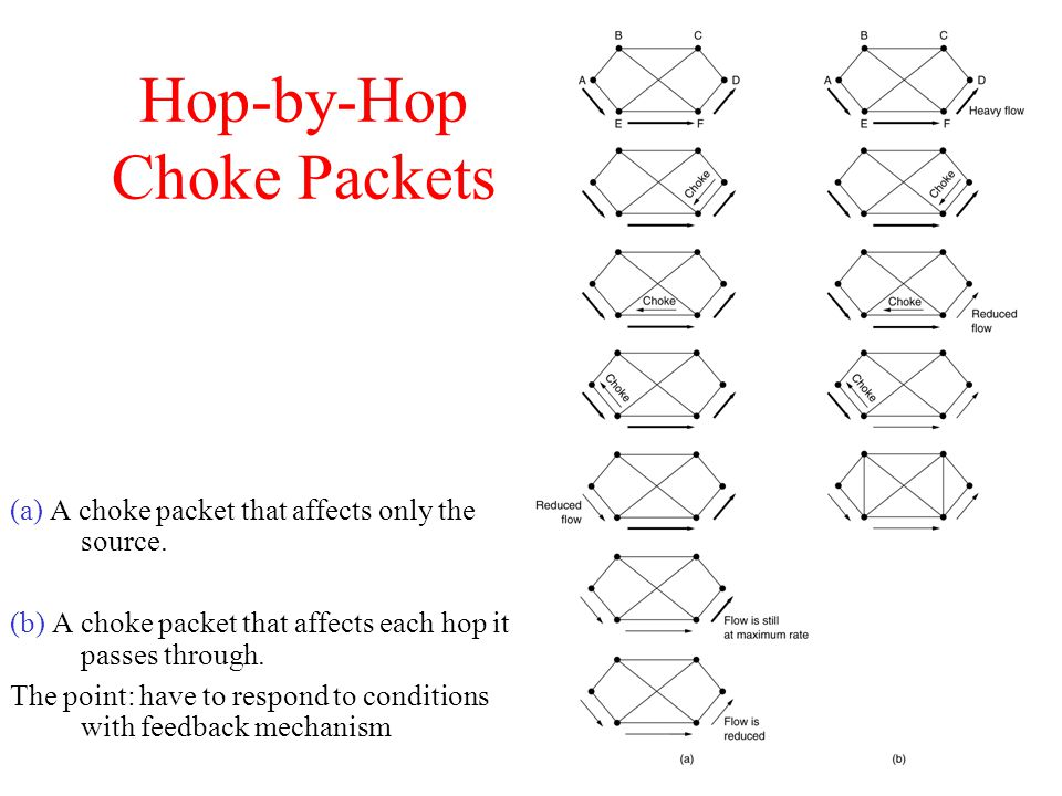 Hop-by-Hop Choke Packets (a) A choke packet that affects only the source.