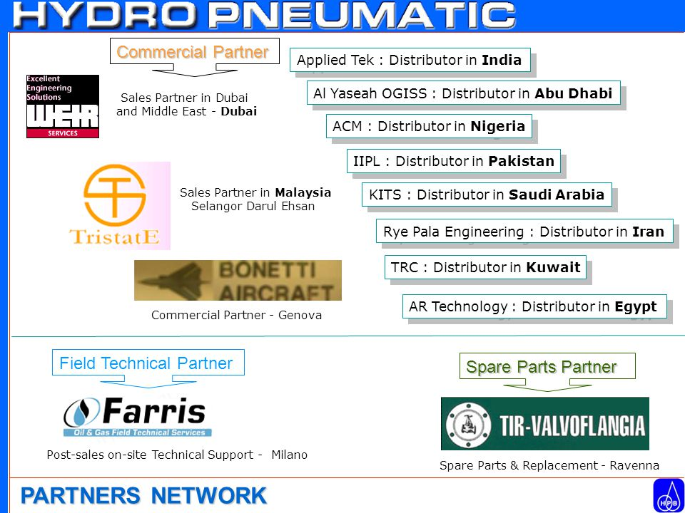 PARTNERS NETWORK Sales Partner in Dubai and Middle East - Dubai Spare Parts Partner Spare Parts & Replacement - Ravenna Field Technical Partner Post-sales on-site Technical Support - Milano Commercial Partner - Genova Commercial Partner Sales Partner in Malaysia Selangor Darul Ehsan Applied Tek : Distributor in India Al Yaseah OGISS : Distributor in Abu Dhabi ACM : Distributor in Nigeria IIPL : Distributor in Pakistan KITS : Distributor in Saudi Arabia Rye Pala Engineering : Distributor in Iran TRC : Distributor in Kuwait AR Technology : Distributor in Egypt