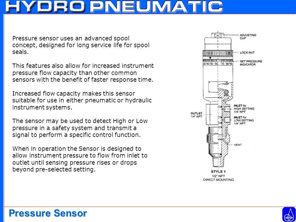 Pressure sensor uses an advanced spool concept, designed for long service life for spool seals.